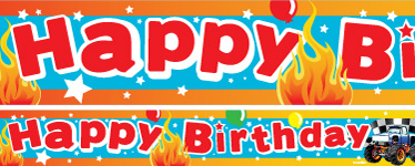 Monster Truck Birthday Paper Banners 1 design 1m each