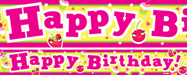 Bright Fruit Cupcake Birthday Paper Banners 1 design 1m each