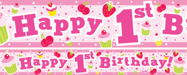 Cupcakes 1st Birthday Paper Banners 1 design 1m each