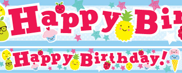 Fruit Cupcakes Birthday Paper Banners 1 design 1m each