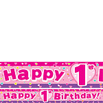 Hearts 1st Birthday Paper Banners 1 design 1m each