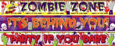 Halloween Zombie Paper Banners 3 designs - 1m