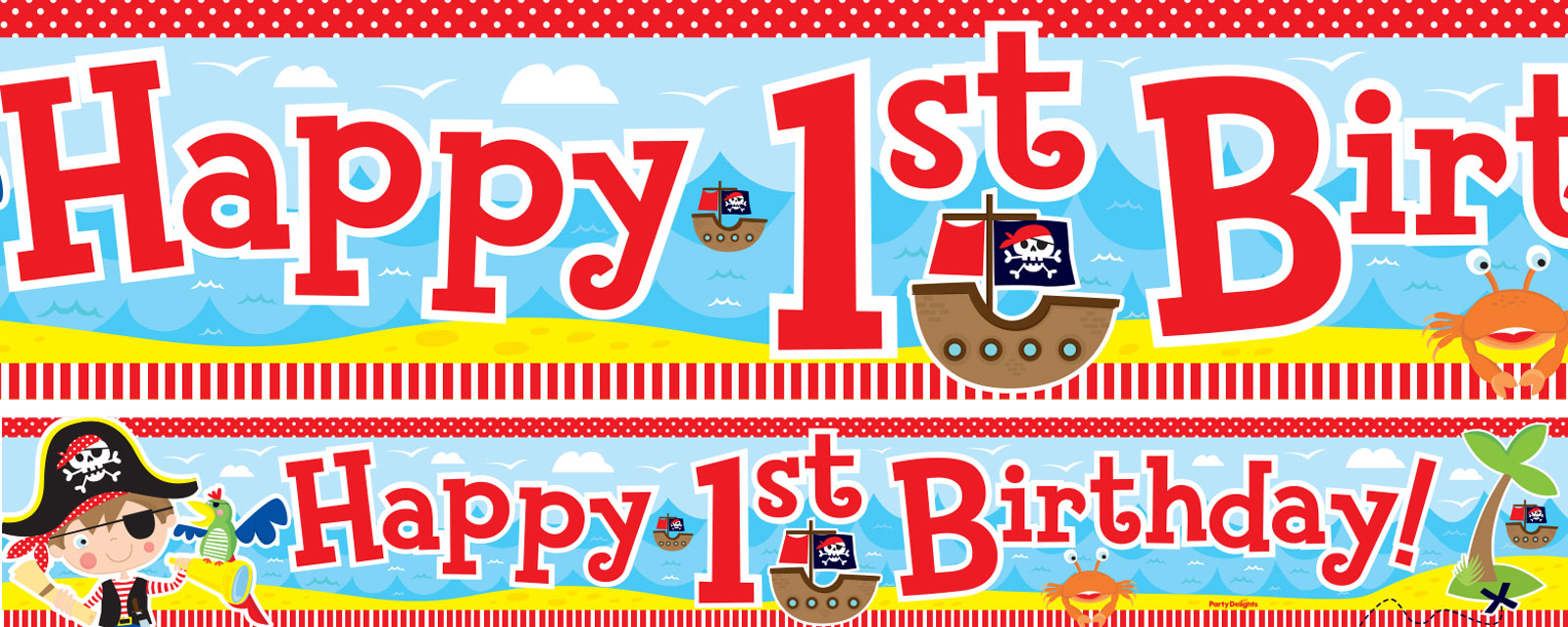 Pirate 1st Birthday Paper Banners 1 design 1m each