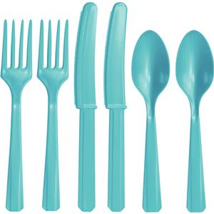 Robin's-Egg Blue Reuseable Plastic Cutlery - Assorted Party Pack