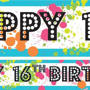 16th Birthday Paper Banners 1 design 1m each